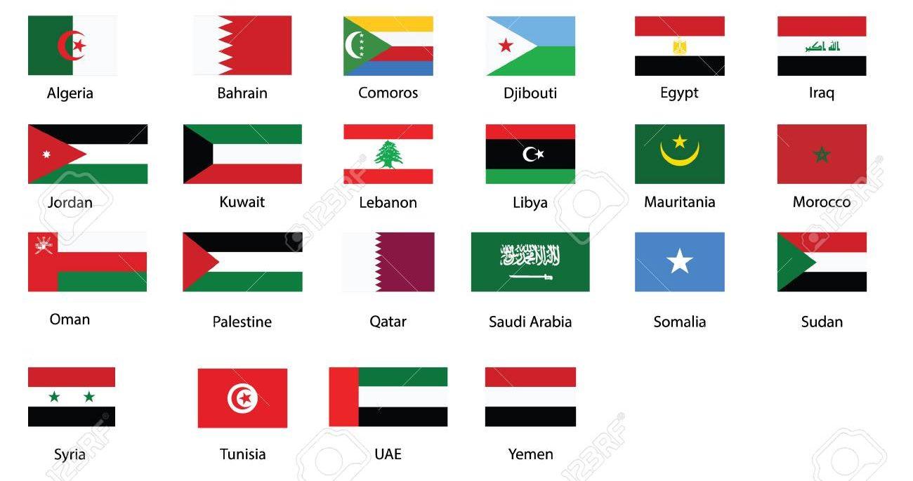 اعلام الدول العربية العلم مع الاسم والرموز هيلاهوب